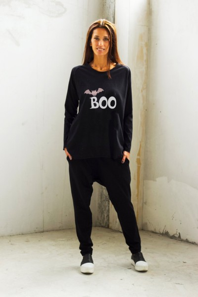 Black Halloween Boo Print T-shirt A224000370