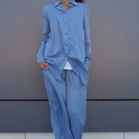 Loose Soft Denim Shirt A11466