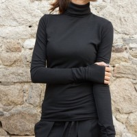 Tops - Sexy Cotton Black Turtle neck A12523