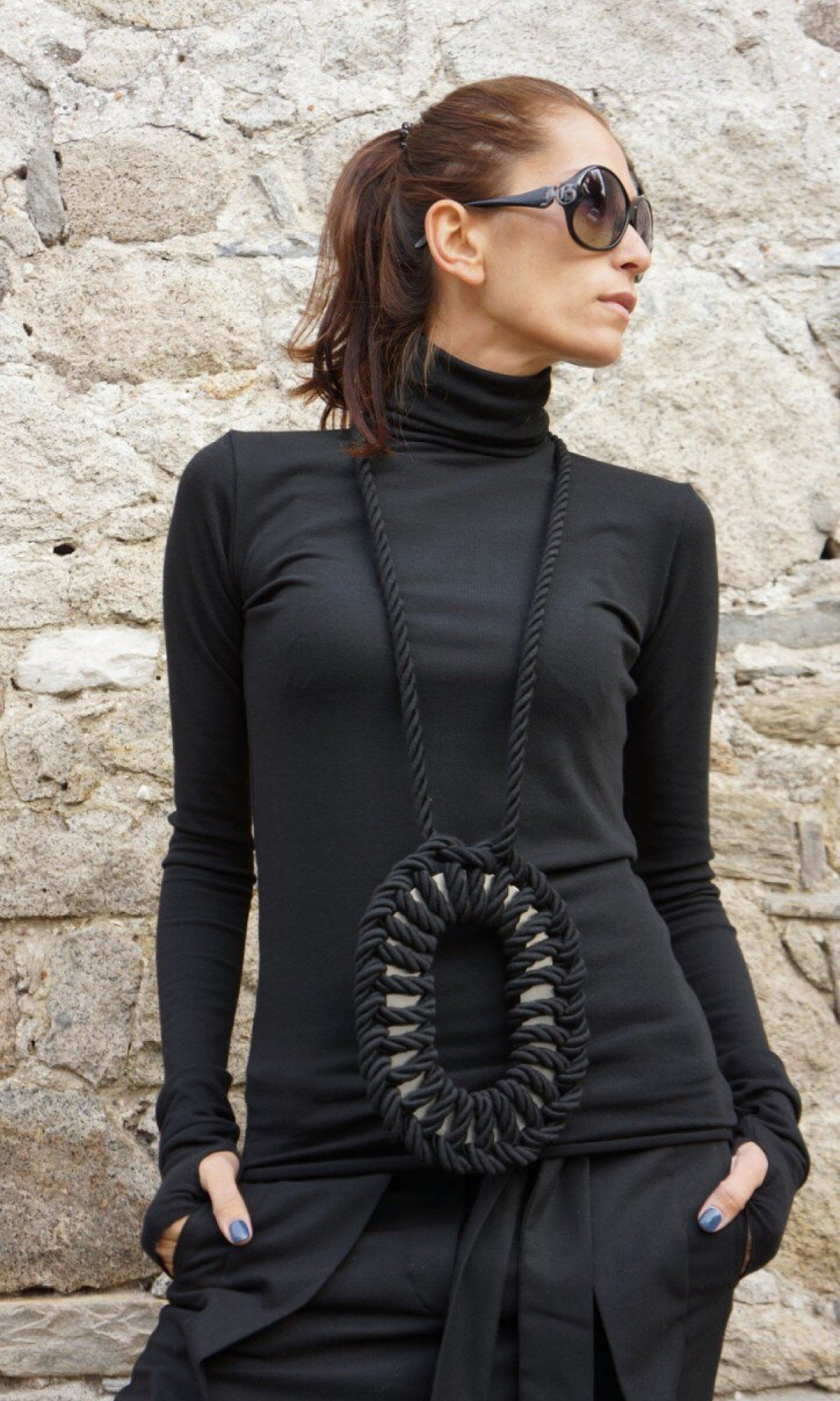 Sexy Cotton Black Turtle neck A12523