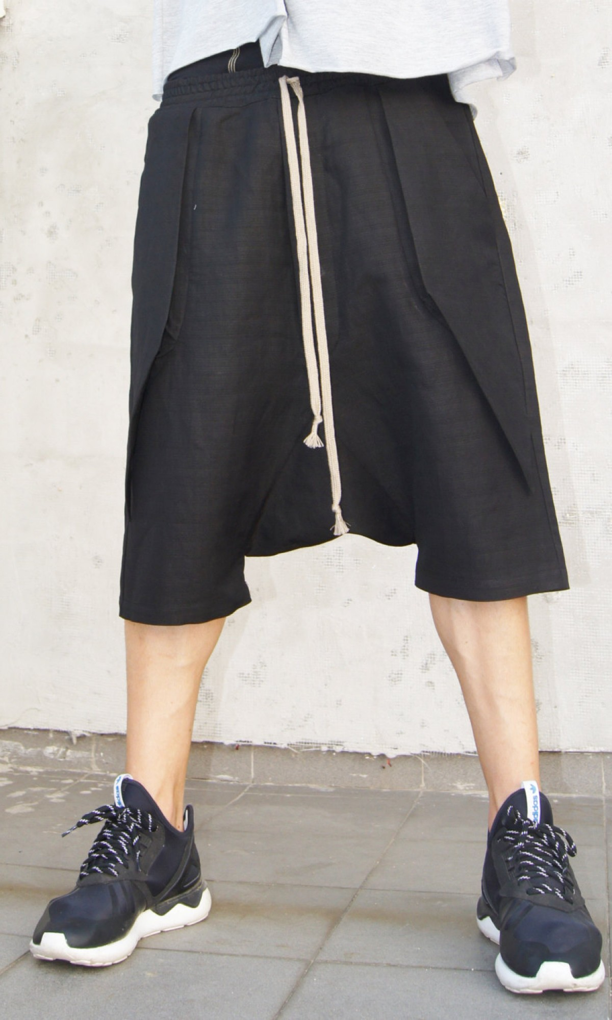 Casual Black Drop Crotch Linen Harem Pants A05462M