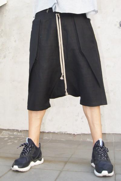 Casual Black Drop Crotch Linen Harem Pants