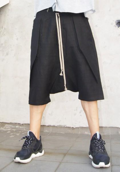 Casual Black Drop Crotch Linen Harem Pants A05462M