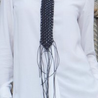 Leather Macramé Tie Necklace A16446