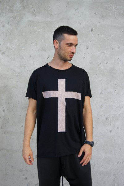"Black Cotton ""Cross"" Tee A12146M"