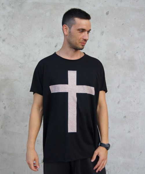 "Black Cotton ""Cross"" Tee A12146M"
