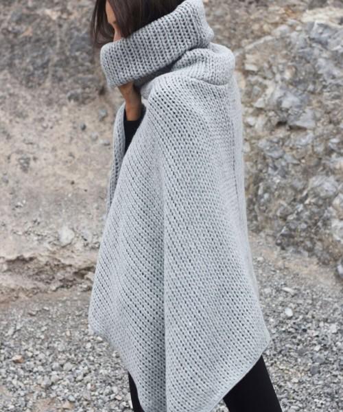 High Collar Knit Poncho A08366