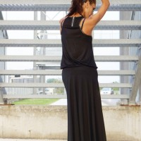 Black Viscose Maxi Skirt