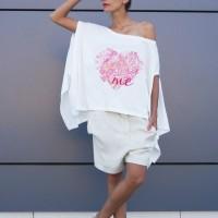 Loose light cream Heart Me Print tunic A124510347