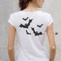 Printees - White Cotton Halloween Cute Bats Back Print T-shirt A224330353