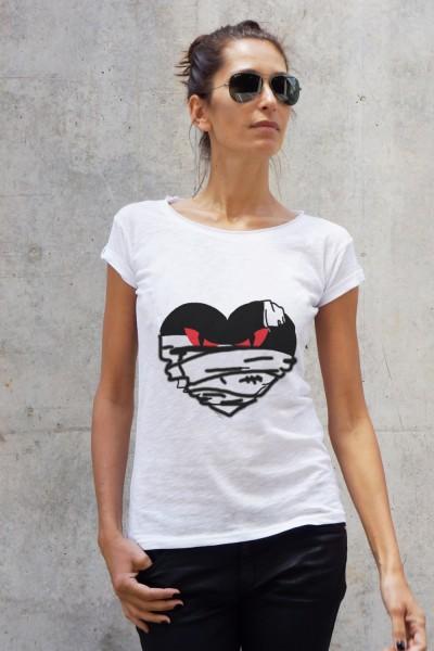 White Cotton Halloween Evil Print T-shirt A224330357
