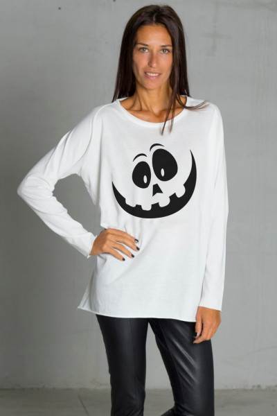 Cream Halloween Print T-shirt A224000358
