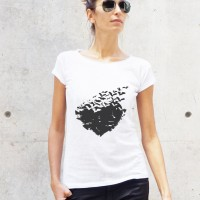 Printees - White Cotton Halloween Bat Heart Print T-shirt A224330362