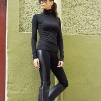Extra Long Leggings with Leather Sides
