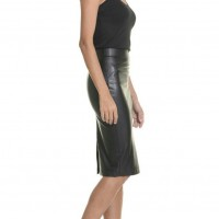 Skirts - Faux Leather Pencil Skirt A09267