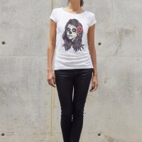 Printees - White Cotton Halloween Skull girl T-shirt A224330368