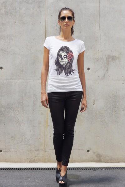 White Cotton Halloween Skull girl T-shirt A224330368