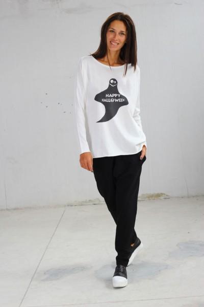 Light Cream Halloween Ghost Print T-shirt A224000371