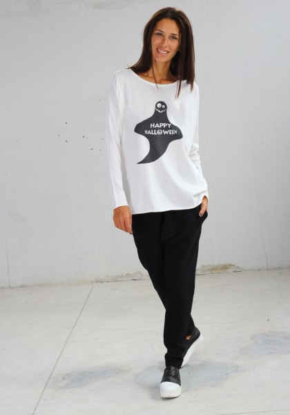 Light Cream Halloween Ghost Print T-shirt A224000371