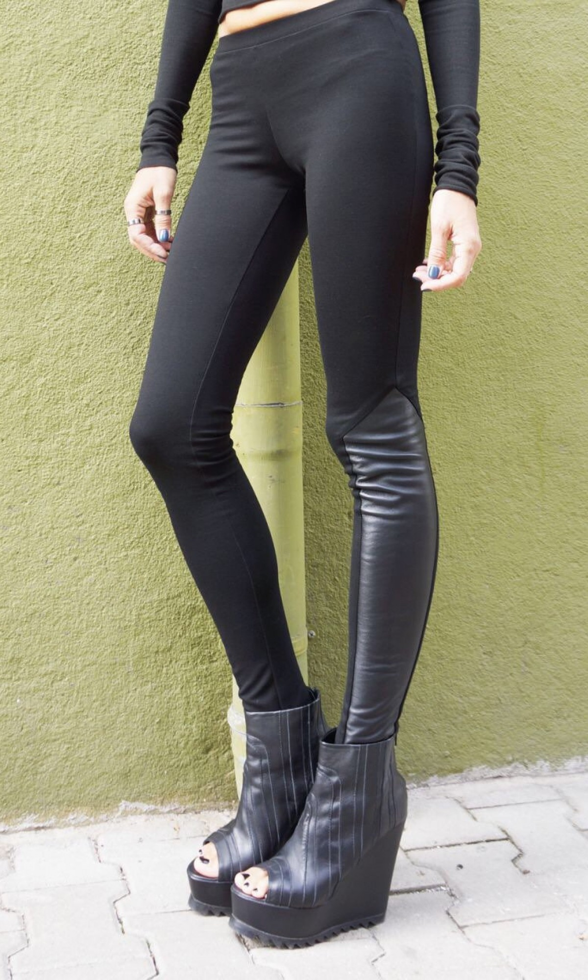 Extra Long Leather Piece Leggings