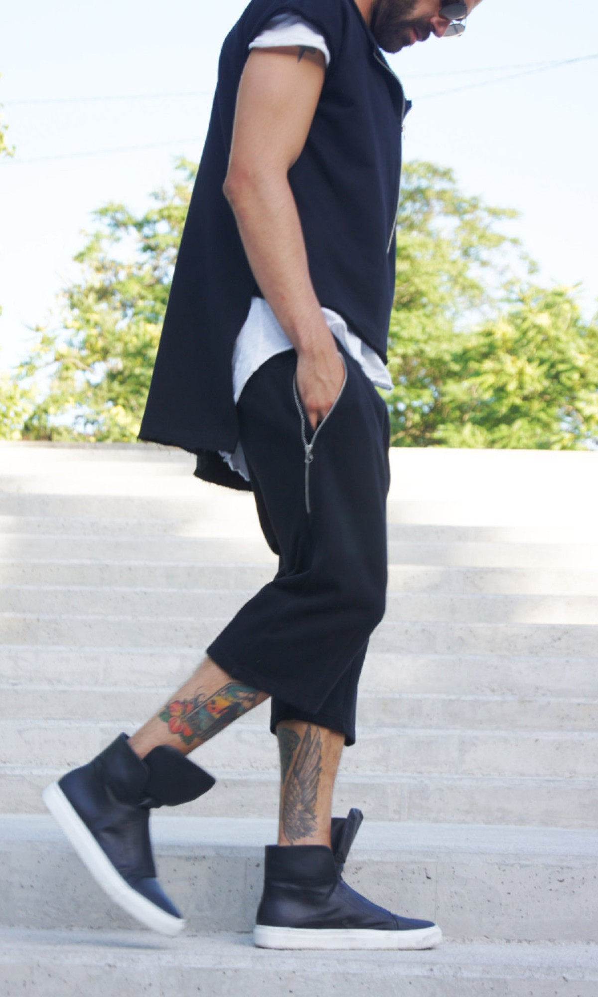 Black Loose Casual Drop Crotch Pants A05561M