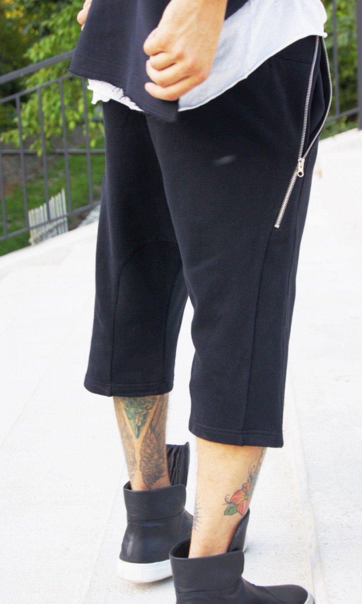 Black Loose Casual Drop Crotch Pants A05561M