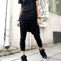 Pants - Loose Casual Black Drop Crotch Pants A05063