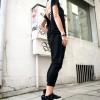 Pants - Loose Casual Black Drop Crotch Pants A05063