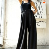 Pants - Loose Wide Leg Skirt Pants A05045