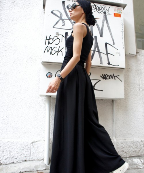 Wide Leg Black Pants A05046