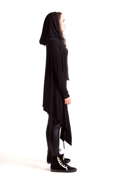Black Hooded Cardigan A10039