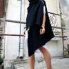 Vests - Asymmetric Black Hooded Cardigan A06089