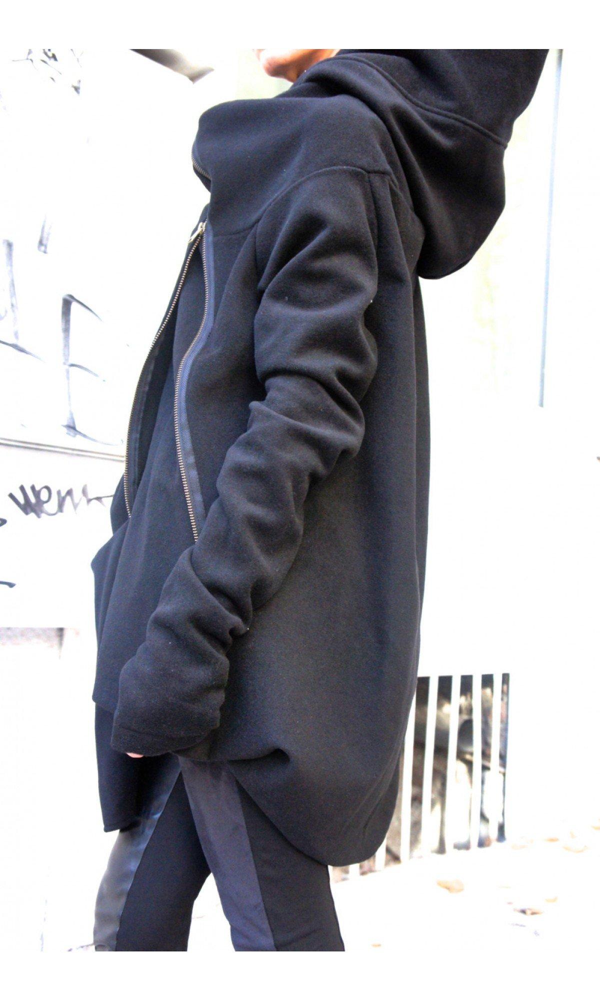 Asymmetric Black Hooded Coat