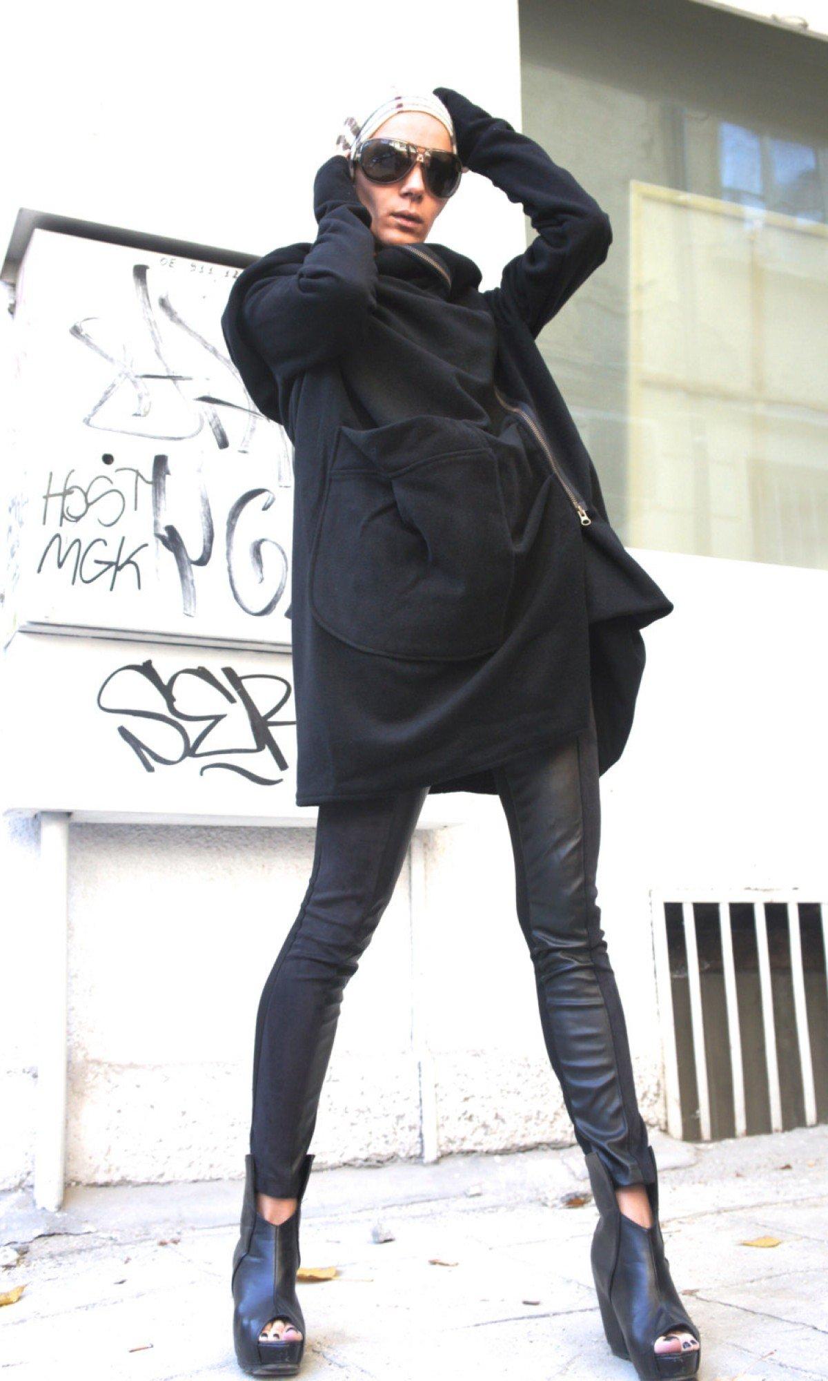 Asymmetric Black Hooded Coat A07079