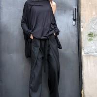 Tunics - Oversize Black Loose Casual Top A02122