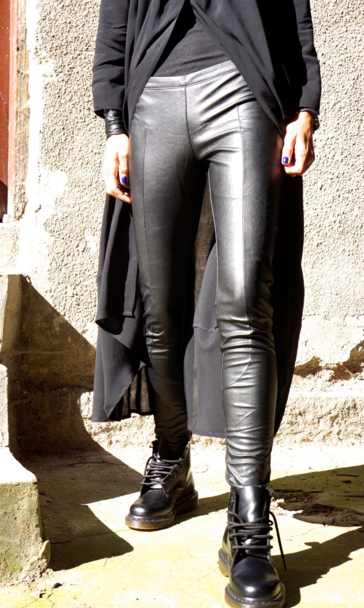 Black Eco Leather Leggings A05162