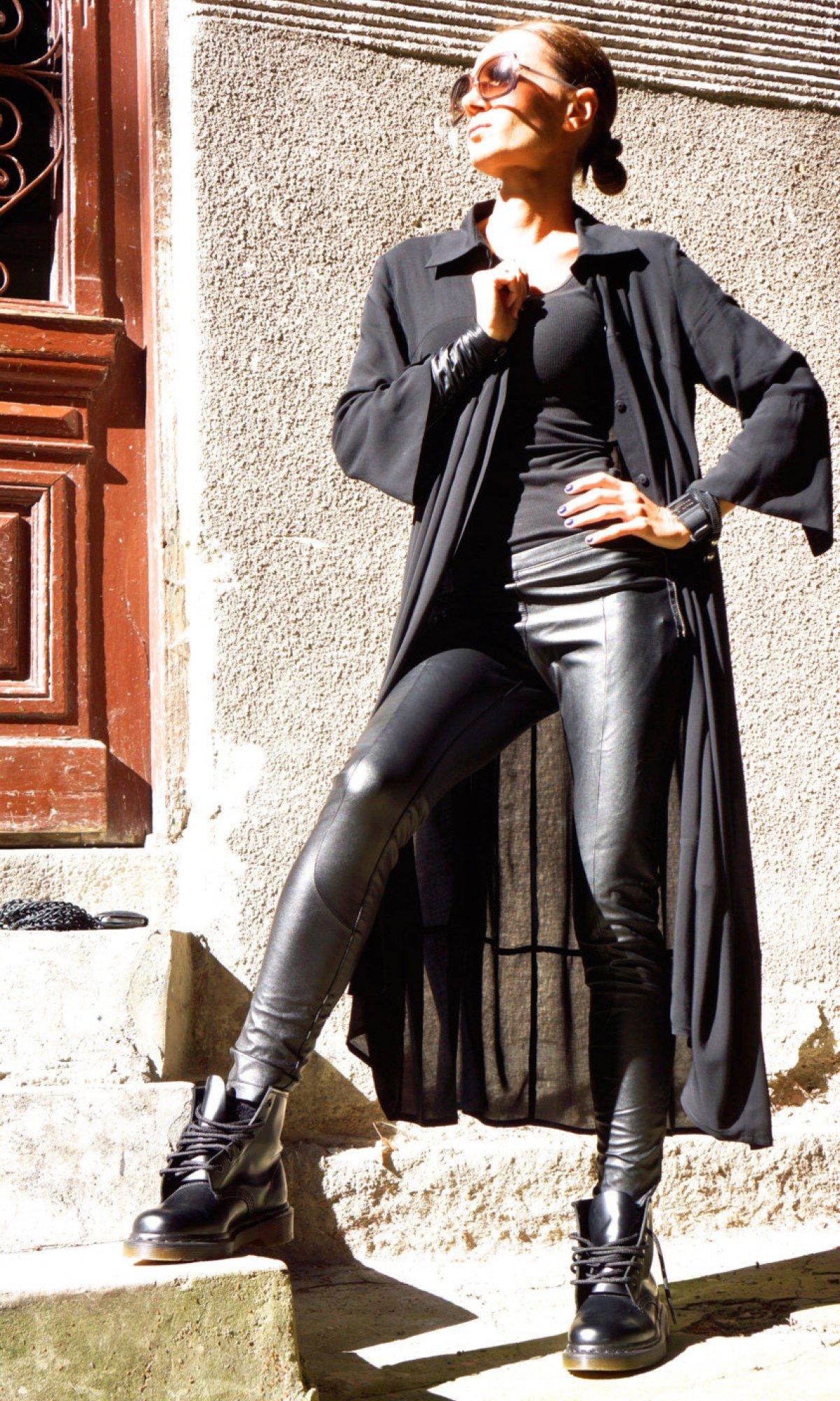 Black Eco Leather Leggings A05162