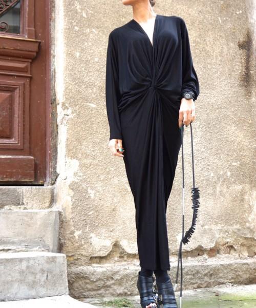 Black Extravagant Asymmetriс Kaftan Dress A03178