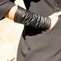 Black Extravagant Leather Cuff Bracelet A17187
