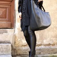Extravagant Long Black Leather Macramé Necklace