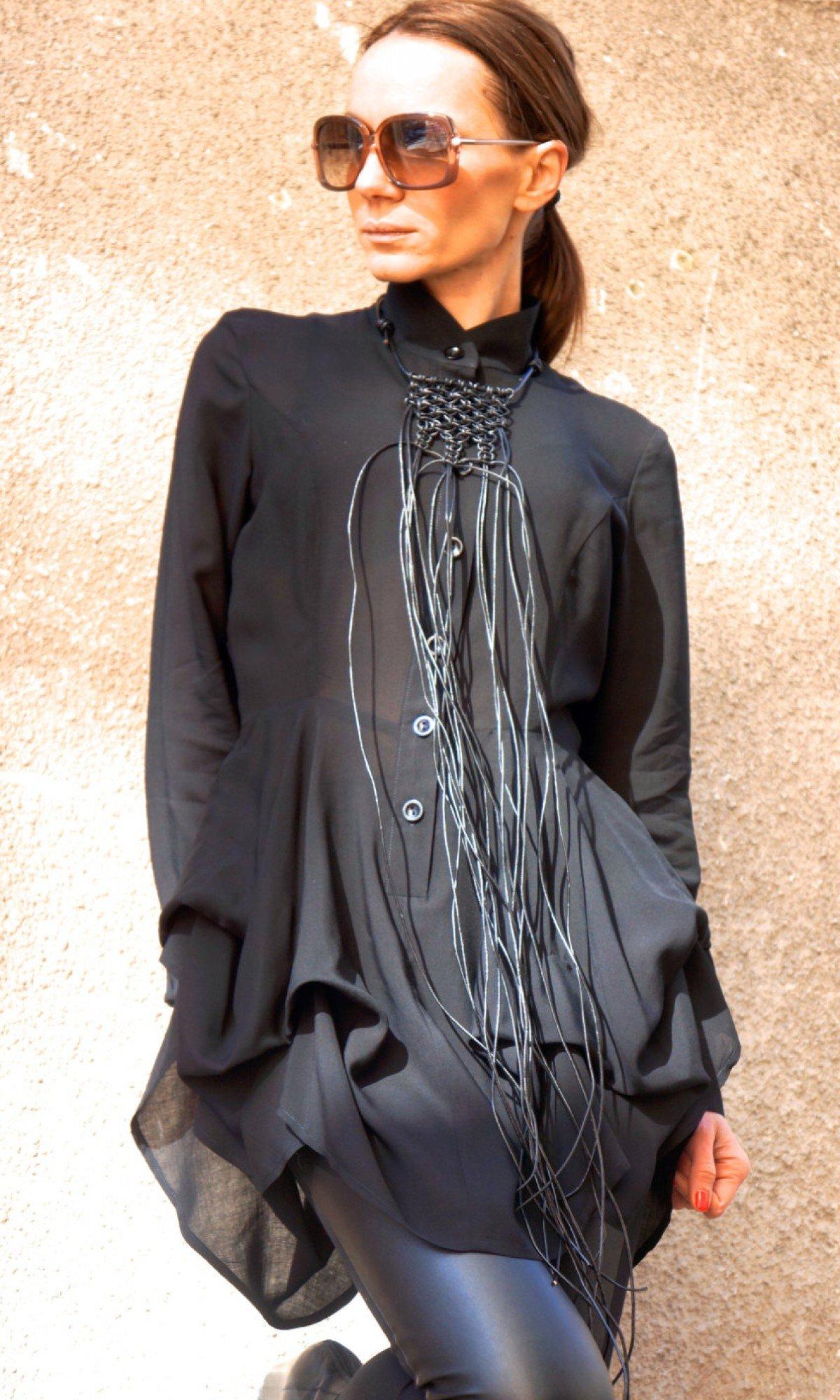 Extravagant Black Leather Macramé Necklace A16196