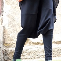 Casual Black Deep Drop Crotch Pants