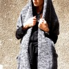 Vests - Oversize Sleeveless Grey Melange Fully Knit Vest A06213