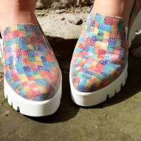 Genuine Leather Color Print Sneakers A15218