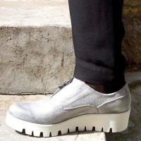 Silver Genuine Leather Sneakers A15217