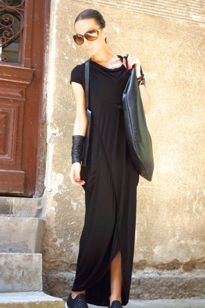 Black Sleeveless Maxi Dress A03251