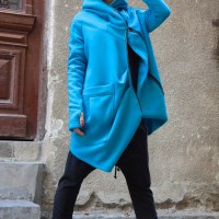 Hoodies - Lined Warm Asymmetric Hooded Coat A07177