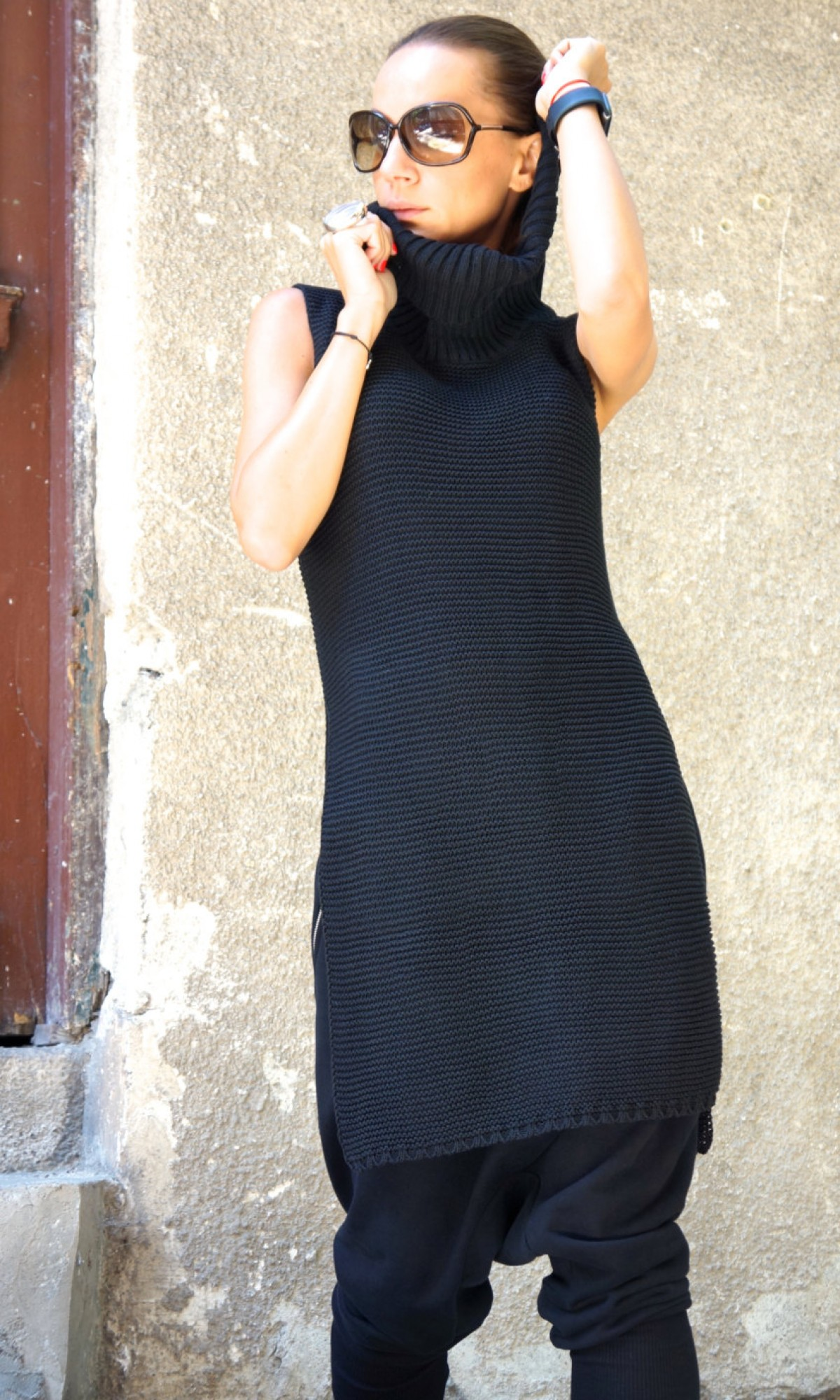 Black High Collar Knit Dress