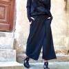Pants - Loose Cotton Black Skirt like Pants A05320