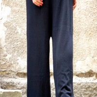 Sales - Loose Black Drop Crotch Fully Knit Pants A05321